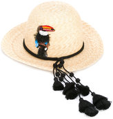 Ermanno Scervino tassel trim straw hat - women - Cotton/Straw - M