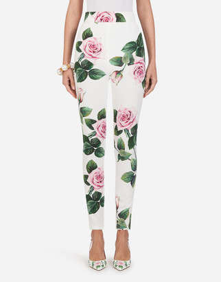 Dolce & Gabbana Cady Fabric Tropical Rose Print Leggings