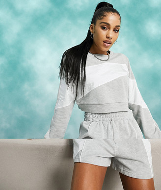 ASOS DESIGN tracksuit sweat with woven panels / sweat shorts
