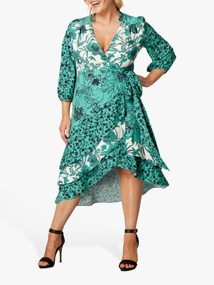 Live Unlimited Curve Floral Wrap Midi Dress, Green Teal