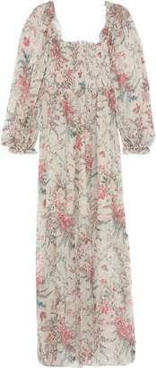 Zimmermann Bayou Shirred Floral-print Silk-gauze Maxi Dress