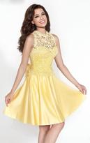 Tarik Ediz Illusion Neck A-Line Short Dress 90419