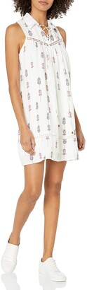 Moon River Women's Lace Trim Printed Dress