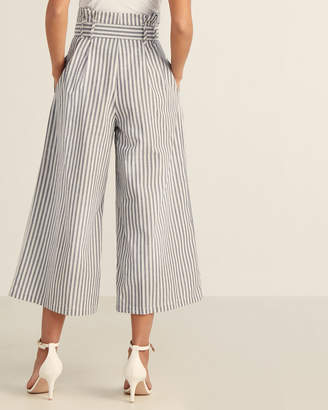Flying Tomato Ivory & Blue Striped Paperbag Waist Pants