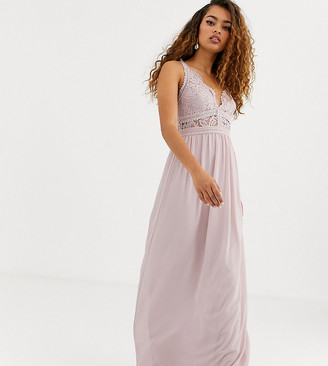 TFNC Petite Bridesmaid halter neck maxi dress with lace inserts in taupe