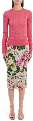 Dolce & Gabbana Floral Print Stretch Silk Charmeuse Pencil Skirt