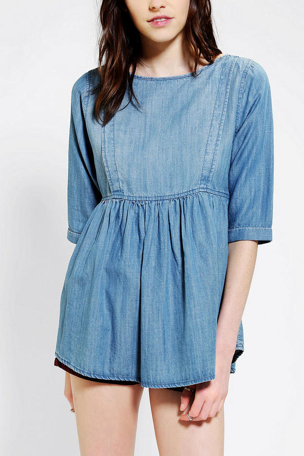 Urban Outfitters Coincidence & Chance Chambray Babydoll Top