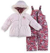 London Fog Size 3T 2-Piece Floral Hooded Snowsuit Jacket and Pant Set in Ivory