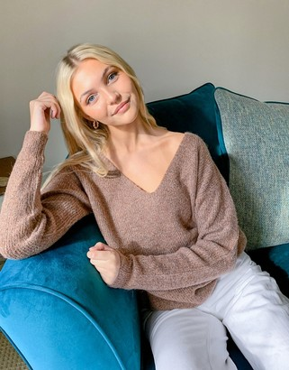 Pieces oversized jumper with v neck in camel
