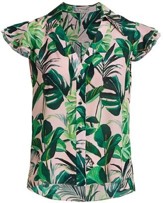 Alice + Olivia Randa Tropical Ruffle-Sleeve Blouse