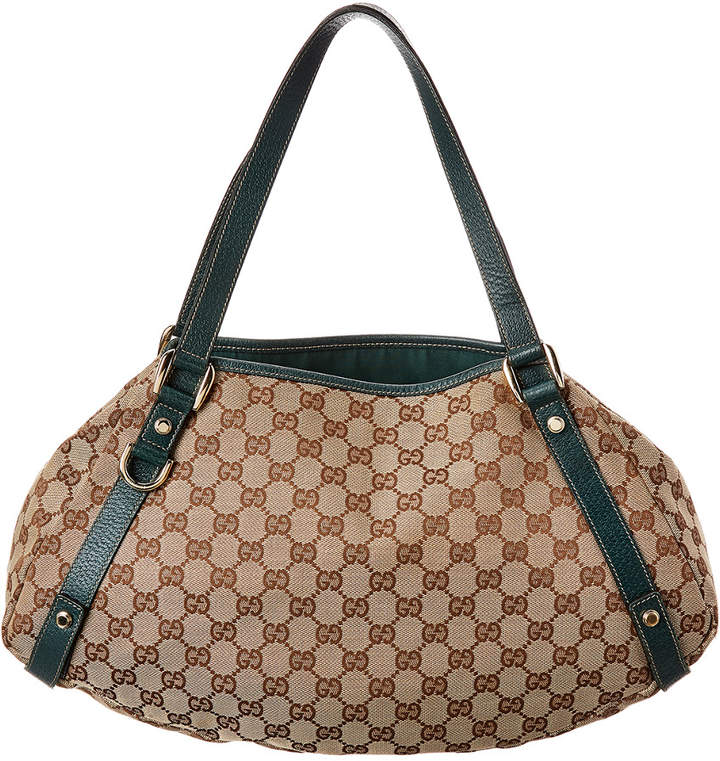 62bd7c6a Brown Gg Canvas & Green Leather Abbey Tote