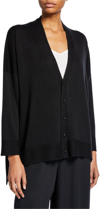 eskandar 3/4 Long-Back Silk Cardigan