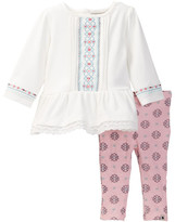 Lucky Brand Lace Trim Tunic & Printed Legging Set (Baby Girls 3-9M)
