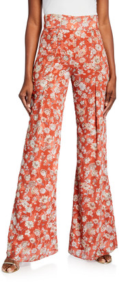 Alexis Yola Pleated High-Rise Floral-Print Pants