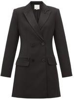 Tibi Stapled Crepe Tuxedo Mini Dress - Womens - Black