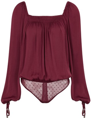 Free People Another Round red satin bodysuit