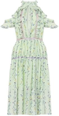 True Decadence Apple Linear Floral Crepe Cold Shoulder Midi Dress