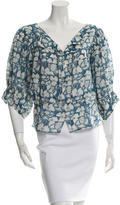 Stella McCartney Floral Print Three-Quarter Sleeve Top