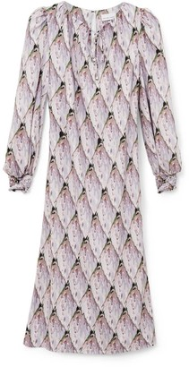 Phoebe Grace Jojo Midaxi Dress With Puff Sleeve In Tiled Protea Bud
