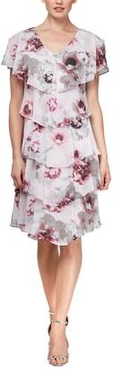 SL Fashions Tiered Floral Chiffon V-Neck Dress
