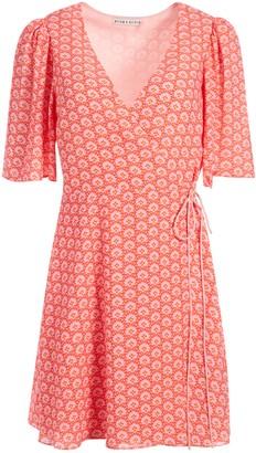 Alice + Olivia Sandra Floral Wrap Mini Dress