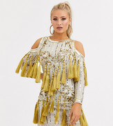 Starlet embellished mini dress with tassle detail in white