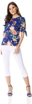 M&Co Roman Originals floral print split sleeve top