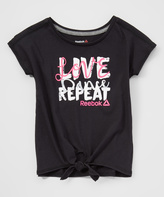 Reebok Black 'Live Love Dance' Tie-Waist Tee - Girls