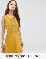 Glamorous Petite Geo Applique Mini Skater Dress In Faux Suede