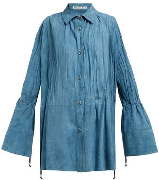 Acne Studios Oversized Suede Shirt - Womens - Blue