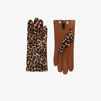Agnelle brown Chloe leopard print gloves