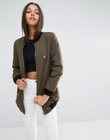 Missguided Faux Shearling Lined Longline Bomber Jacket