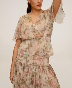 MANGO Women's Floral-Print Flowy Blouse