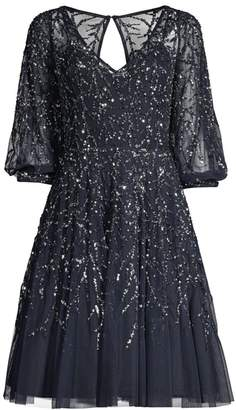 Aidan Mattox Sequined Fit-&-Flare Dress