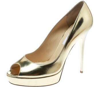 Jimmy Choo Metallic Gold Patent Leather Crown Peep Toe Platform Pumps Size 40