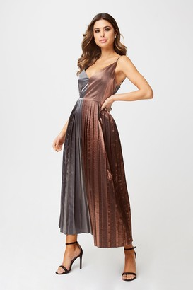 Little Mistress Talita Gunmetal And Copper Metallic Pleated Midi Dress