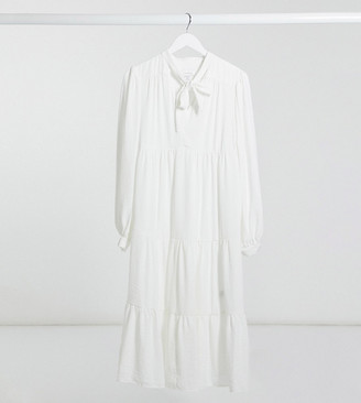 Topshop Maternity tiered midi dress in ivory