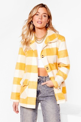 Nasty Gal Womens Checkin' in Faux Wool Button-Down Jacket - Yellow - 4