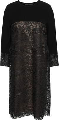 Alberta Ferretti Paneled Crochet And Ribbed-knit Dress