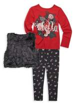 Petit Lem Little Girl's Three-Piece Ciao Bella Tee, Faux Fur Vest and Leggings Set