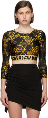 Versace Jeans Couture Black & Gold Regalia Baroque Crop Long Sleeve T-Shirt