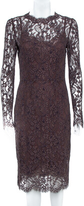 Dolce & Gabbana Raisin Purple Lace Overlay Sheath Dress M