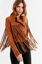 Urban Outfitters Suede Moto Fringe Jacket