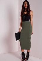 Missguided Petite Longline Jersey Midi Skirt Khaki