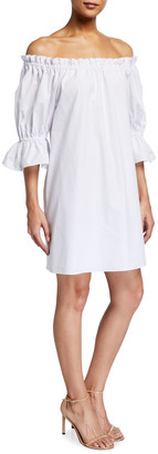 Alice + Olivia Paola Off-the-Shoulder Trumpet-Sleeve Dress