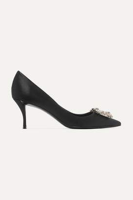 Roger Vivier Flower Crystal-embellished Satin Pumps - Black