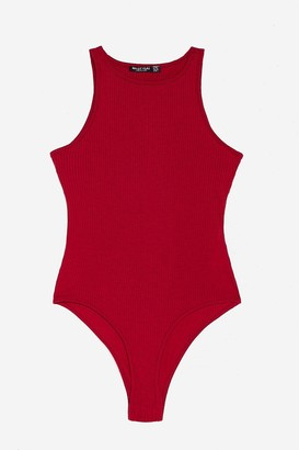 Nasty Gal Womens Racerback Slinky High Leg Bodysuit - Berry