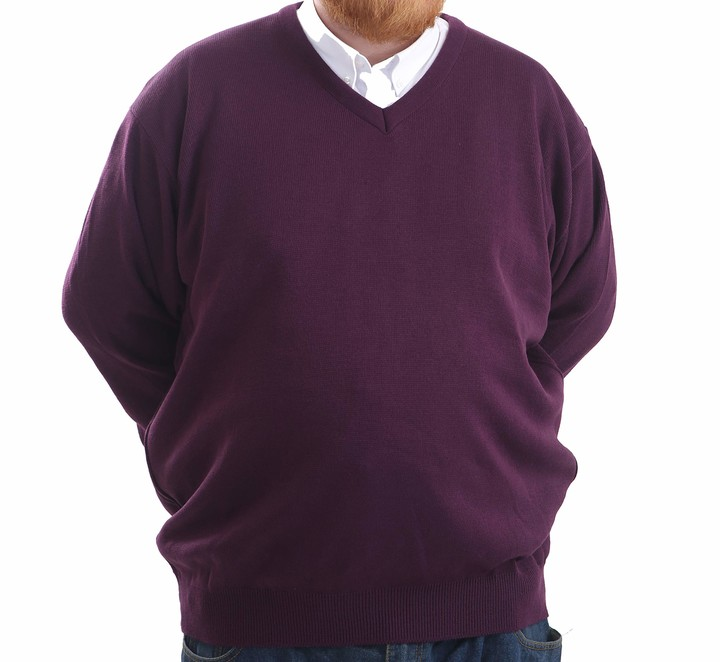 Thumbnail for your product : Brooklyn Clothing Mens Big Size V Neck Jumpers Soft Feel Acrylic Classic Fit King Size Sweater Long Sleeve (Navy 5XL)