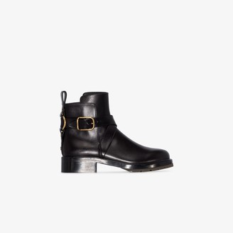 Chloé Black buckle leather ankle boots