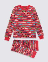 Marks and Spencer Cotton Rich Car Print Pyjamas (1-16 Years)